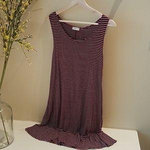 Pinc Striped Flowy Shirt Dress
